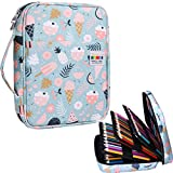 JAKAGO 220 Slots Colored Pencil Case Large Capacity Pen Holder for Student Artist Adult Girl Zipper Organizer Bag for Marker Highlighter Storage Case for School Office Sketch Supplies(Ice Cream)