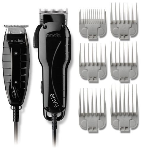 """Andis Professional Stylist Clipper and Trimmer Combo Kit, High Speed Whisper Quiet Magnetic Motors with Ergonomic Design, Clipper has Adjustable Blade with 6 Comb Attachments Size 1/8""""-1"""", T-Blade Outliner Trimmer Features 4 Comb Attachments Size 1/16""""-3/8"""""""