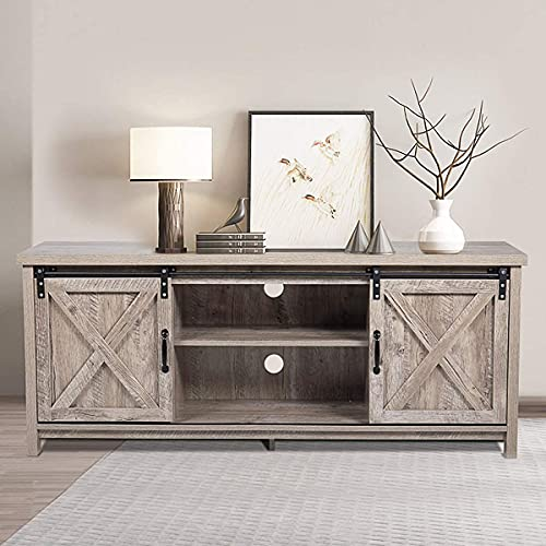 JAXPETY Wooden Farmhouse Style 58 Inch TV Stand Storage Shelves, Entertainment Center Sliding Wood Barn Doors, Television Stands Cabinet Console for Living Room Bedroom, Rustic Natural