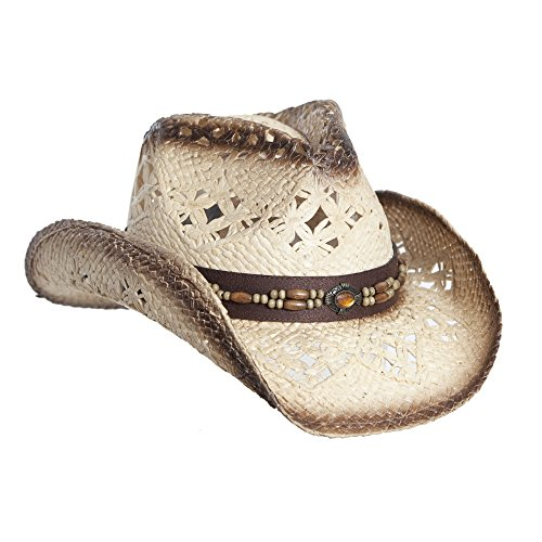 Vamuss Straw Cowboy Hat W/Vegan Leather Band & Beads, Shapeable Brim, Beach Cowgirl, Tea Stain, One Size