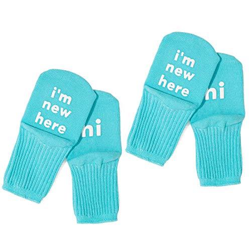 Fagu 2 Pares de Calcetines de Tobillo Antideslizantes para bebés recién Nacidos, Lindos y Divertidos Refranes, calcetería