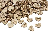 Juvale Wooden Love Heart Table Scatter Confetti for Valentine's Day, Anniversaries (200 Pack)