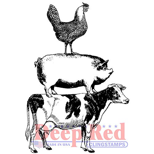 Deep Red Farm Animal Stack Rubber Cling Stamp