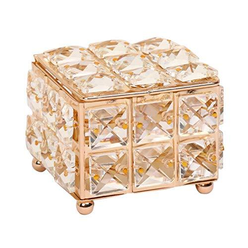 XKMY Joyero organizador europeo de cristal pendiente anillo caja de almacenamiento con tapa lápiz labial joyería perla expositor mujeres adornos organizador titular