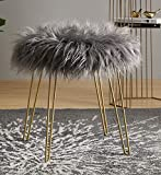 Ornavo Home Modern Contemporary Faux Fur Vanity Chair Round Ottoman Foot Rest Stool/Seat with Gold Metal Legs - 17' L x 17' W x 18' H (Grey)