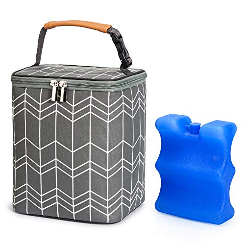Product Image of the BABEYER BreastMilk Cooler Bag with Ice Pack Fits 4 Baby Bottles Up to 9 Ounce,...