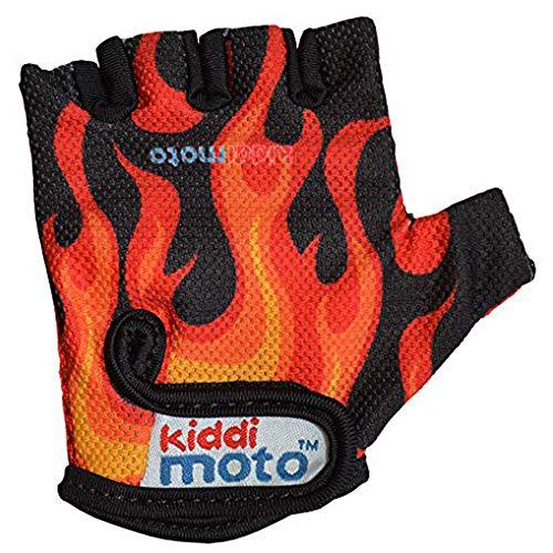 KIDDIMOTO Kinder Fahrradhandschuhe Fingerlose für Jungen und Mädchen/Fahrrad Handschuhe/Bike Kinder Handschuhe - Flammen - S (2-5y)