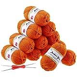 Fuyit 12 Orange Acrylic Yarn Skeins, 1310 Yards Soft Double Knitting Yarn with 2 Crochet Hooks for Beginner Knitting Crochet & Crafts (12 x 50G)
