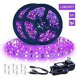 Ontesik Black Light Strip, 40ft/12m Flexible UV Black Light with LED kit, 720lamp Beads, 1...