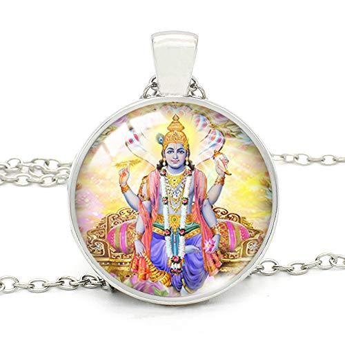 India Religión Collar Dios Brahma Señor Shiva Vishnu Cristal Cabujón Colgante Collares Religión Joyería para Mujeres Hombres