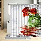 AFDSJJDK sabanas Algodon Planta Flores Rosa roja Cortina de Ducha en Agua orquídeas Lirio Tulipanes Mariposa decoración baño Traje de Tela Lavable con Gancho