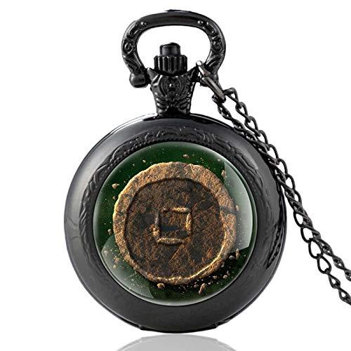 XTQDM Reloj de Bolsillo,Reloj de Bolsillo de Cuarzo Retro, Collar Retro, Colgante, Cadena, Reloj Fob, Horas para Hombres, Regalos Unisex para fanáticos, black35mm
