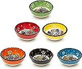 Bascuda Set di 6 Piccole Ciotole Ceramica 8cm - Ciotole Spuntini, Aperitivo, Salsa di Soia, Decorazioni Colorate - Ciotola Colazione Ø 8 cm