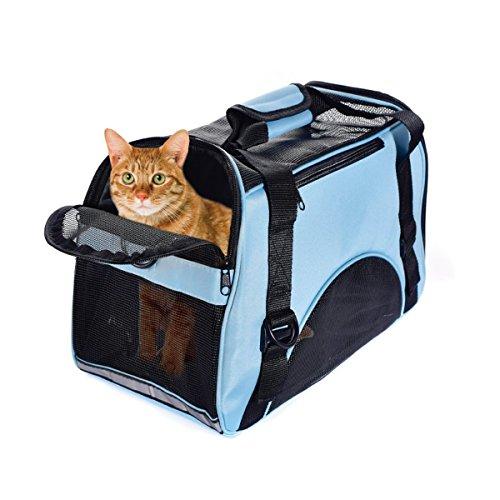 PETCUTE Hunde Tragetaschen Transporttasche Katze Tragetasche Transporttasche für Kleine Hunde Katzen Faltbar Haustier Taschen Blau L