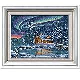 2020 Nuevo La aurora boreal Patrones de punto de cruz kits de contado Impreso lienzo bordado Set DIY Kit Dimensiones punto de cruz (Cross Stitch Fabric CT number : 14CT Printed Pattern)