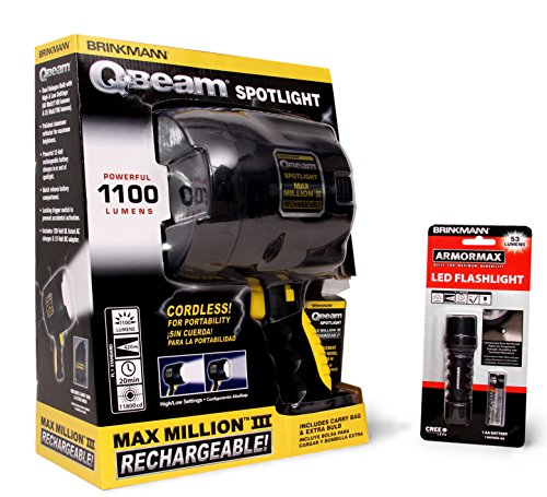 Brinkmann Handheld Lighting Set (Brinkmann QBeam 800-2380-W Max Million III Rechargeable Spotlight and Armormax LED Flashlight)