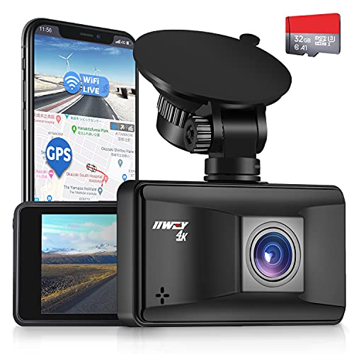 iiwey WiFi Dash Cam Front, 4K Dash Cam GPS with Speed Camera, Dash Camera for Cars Ultra HD 2160P@30fps with 3 Inch Touchscreen, Car Camera with SD Card, Night Vision, Motion Detection, Parking Mode