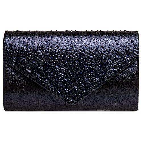 Caspar TA423 elegante Damen Envelope Clutch Tasche Abendtasche mit Strass Dekor, Farbe:dunkelblau,...