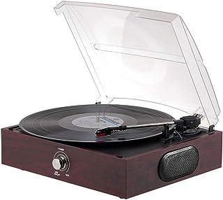 WHSS Gramophone rétro, lecteur de disque vinyle, lecteur de disque vinyle, stéréo intégré (310 x 270 x 125 mm) pour décora...