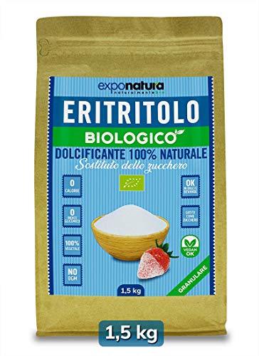 ERITRITOLO BIOLOGICO granulato 1,5 Kg - Sostituto dello zucchero - 100% Naturale da Agricoltura Biologica Certificata – Zero Calorie – Indice Glicemico pari a Zero – salutare e altamente digeribile