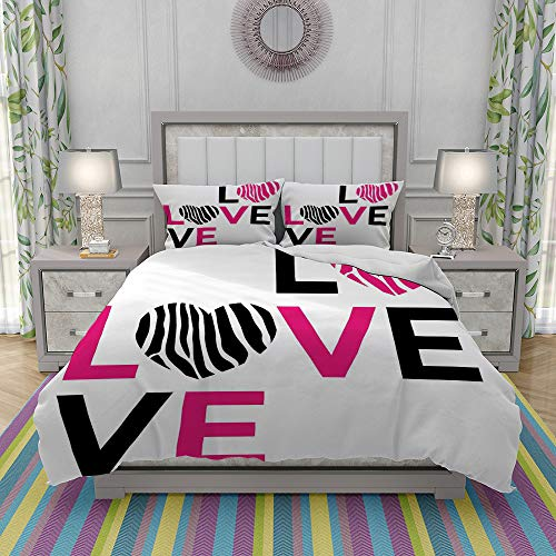 MOONLIT Duvet Cover Set-Bedding,I Love You Calligraphy Zebra Stripes Hearts Valentines Illustration,Quilt Cover Bedlinen-Microfibre 140x200cm with 2 Pillowcase 50x80cm