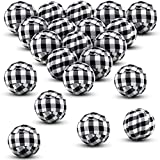 Tatuo 20 Pieces Valentine's Day Buffalo Check Fabric Wrapped Balls 2 Inch Round Gingham Bowl Fillers for Valentine's Day Farmhouse Home Decoration Holiday Favors