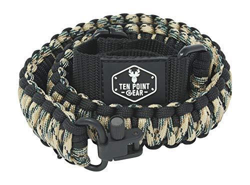 Ten Point Gear Gun Sling Paracord 550 Adjustable w/Swivels (Multiple Color Options) (Black & Tan/Green Camo)