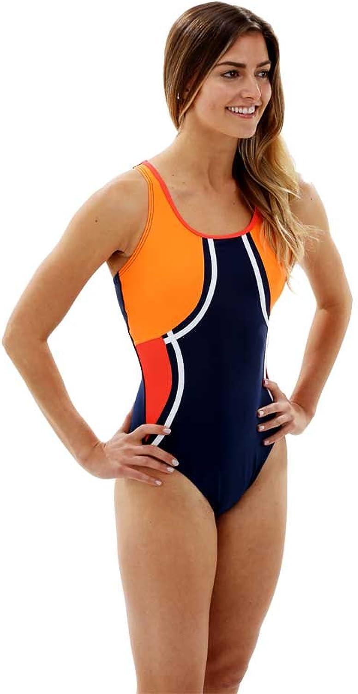 Aqua Sphere Women's Tequila Swimsuit  Navy bluee Bright orange, 36Inch by Aqua Sphere