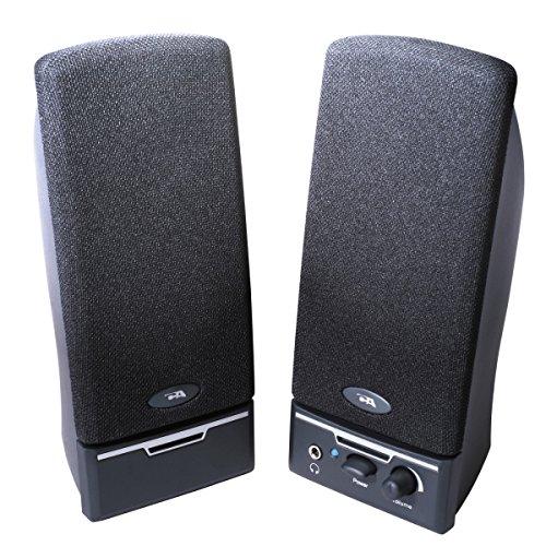 Cyber Acoustics CA-2014RB BLACK 2PC 4W SPEAKER SYSTEM VOL POWER HEADPHONE JACK RT SPEAKER