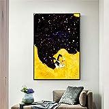 zhuziji Carteles de Arte Grandes Vestido Estrellado Negro de Belleza Sexy Abstracta Rubia Paintings HD Imprimir Regalo Cuadro - Impresión de Libro - Arte de la Pared D 40X60 cm(Sin Marco)