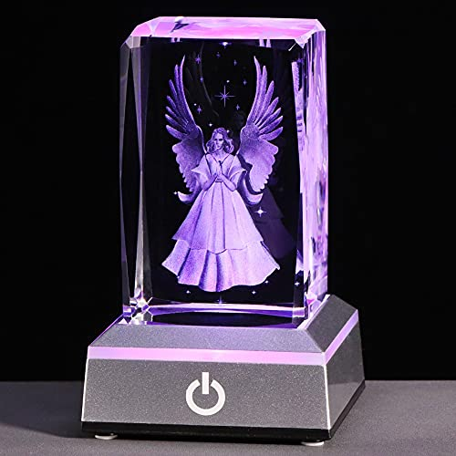 YWHL 3D Crystal Guardian Angel Figurine with Colorful Light Base, Laser Engraved Glass Angel Gifts, Collectible Figurines
