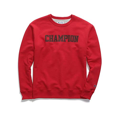 Champion Mens Powerblend Fleece Crew Mesh-Effect Logo (GF88H Y07420)