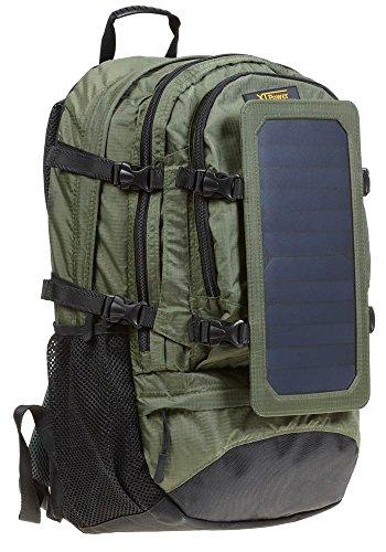 XTPower® SP607BL 6,5W Zaino Solare Verde - Borsa Solare di Nylon - Zaino per Escursionismo con Funzione di Ricarica Solare Rimovibile - Pannello Solare Integrato con 1x USB 5V 1A