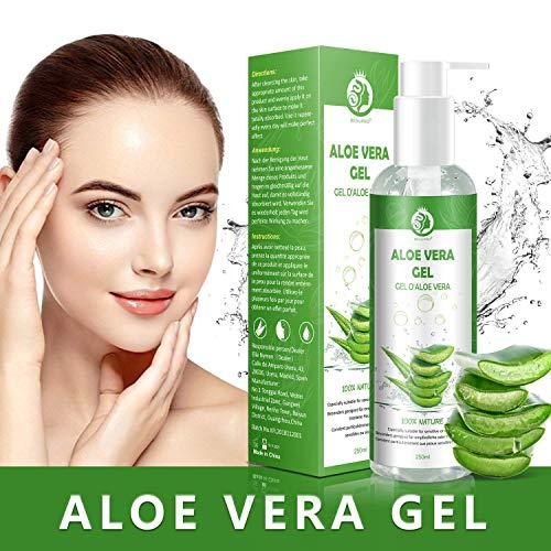 Aloe Vera Gel - 100{d58a2be4dd77ff8ef12a3fe9572d6593c69e4a57ddedeab4cb7c6debd69b0350} Bio für Gesicht, Haare und Körper – Vegan, Rein und Natürlich Feuchtigkeitscreme - Ideal für Sonnenbrand Reparieren, trockene strapazierte Empfindliche Haut - After Sun, 250ml