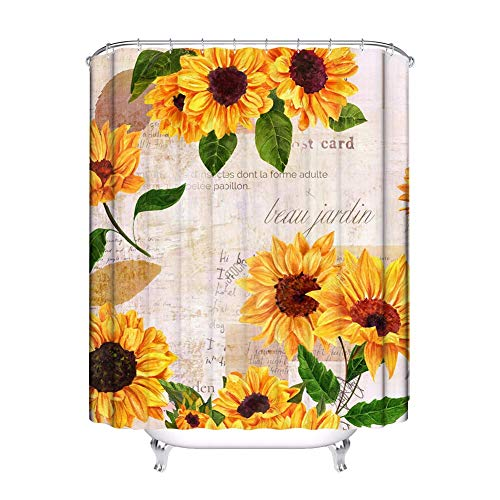 JessFash Floral Shower Curtain Yellow Watercolor Sunflower Bathroom Polyester Fabric Bath Curtains...