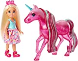 Barbie Dreamtopia mini-poupée Chelsea et sa licorne rose translucide, jouet pour enfant, FPL82