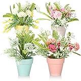 com-four 4X Flor Artificial, arreglo Floral en Maceta de cerámica, Flores Artificiales en Colores Pastel como alféizar de la Ventana y decoración de la Mesa [la selección varía]