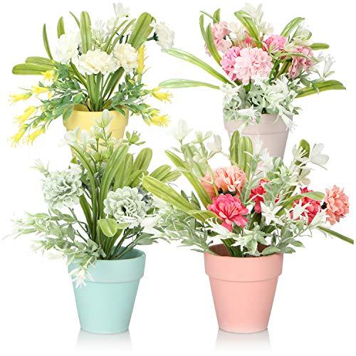 com-four® 4X Flor Artificial, arreglo Floral en Maceta de cerámica, Flores Artificiales en Colores Pastel como alféizar de la Ventana y decoración de la Mesa [la selección varía]