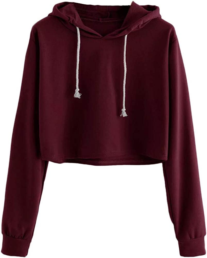 Sale special price F_Gotal Women Hoodie Solid Color Drawstring Crop Sleeve Max 78% OFF Hoo Long