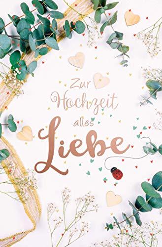 PremiumLine Hochzeitskarte mit Marienkäfer aus Holz inkl. Umschlag Glückwunschkarte - Zur Hochzeit alles Liebe - Grußkarte