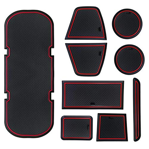 Sporthfish Cup Door Console Liner Accessories Compatible for BRZ 86 FR-S 2019 2018 2017 2016 2015 2014 2013 Subaru Toyota Scion Non-Slip Anti-dust Custom 9 pcs Set (Red)