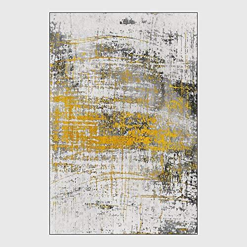 Tapijten en vloerkleden voor Woonkamer Nordic Modern Geel Grijs Wit Kunst Abstract Inkt Woonkamer Slaapkamer Keuken Eetkamer of logeerkamer Shaggy Carpet,80 * 120cm