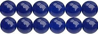 DIY Fashion Jewelry Beading Beads Material Supplies Full Strand 15 Inch 8mm Dark Blue Chalcedony Semi Precious Stone Loose Beads APX 46 Pcs