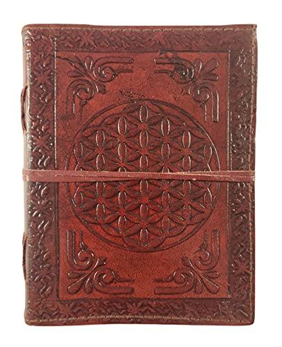 Kooly Zen – Cuaderno de diario, libro, álbumes, libro de invitados, cuaderno de dibujo, scrapbook, trepador, piel auténtica, flor de la vida, vintage, 13 cm x 17 cm, 240 páginas, papel premium