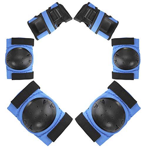 Protektoren Set für Kinder & Erwachsene 6-teilig Ellenbogenschützer Handgelenkschoner Knieschoner Schutzausrüstung Set Knieschützer Armbänder für Radfahren Roller Skaten BMX Skateboard (Blau S)
