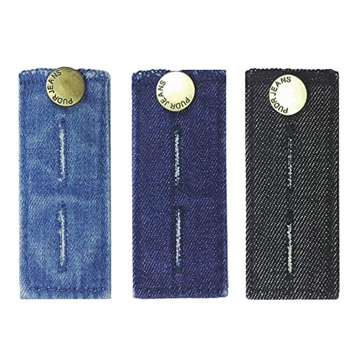 """LZLER Denim Waist Extenders for Men and Women, Easy Fit Buttons for Jeans Trousers with Metal Button, Add 1/2"""" to 2"""" Extra Space, Set of 3 Black, Blue and Dark Blue"""