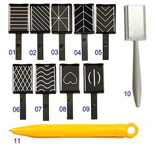 Shogpon Ensemble de 11 Pièces Aimant Bâton Aimant Stylo Manucure Nail Art Outil pour Magie Magnétiques 3D Chat Oeil Effet Poudre gel Vernis à Ongles DIY