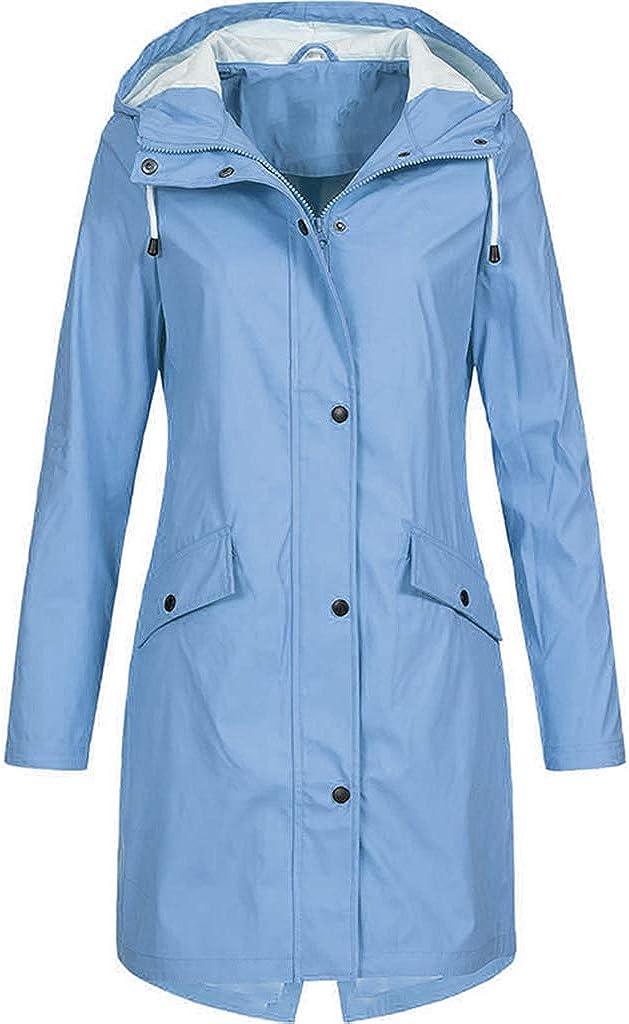 CANAFA Women's Plus Size Solid Color Rain Jacket Outdoor Hoodie Waterproof Long Coat Overcoat Windproof Trench