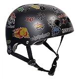 SFR Casque de protection pour skate/trottinette/roller en ligne/patin à roulettes/BMX/longboard, noir avec autocollants, S/M 53-56cm