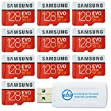 Samsung 128GB Evo Plus MicroSD Card (10 Pack EVO+) Class 10 SDXC Memory Card with Adapter (MB-MC128HA) Bundle with (1) Everything But Stromboli Micro & SD Card Reader